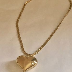 14k gold filled puffed heart and double chain